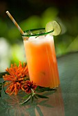 Exotic Mai Tai cocktail with flowers