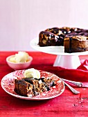 Chocolate chestnut pear cake with chocolate sauce