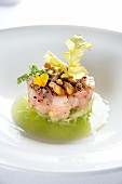 Tartare of yellowtail mackerel on julienned cucumber