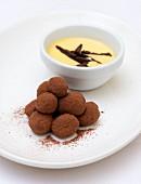 Chocolate truffles and vanilla cream