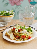 Scrambled eggs with smoked haddock and potatoes