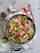 Rice noodles with vegetables and Turkey (Vietnam)