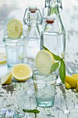 Water flavoured with lemon slices and mint in bottles and glasses