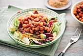 A mixed salad with marinated chickpeas