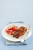 Stuffed chicken breast with tomato salad
