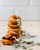 Beetroot beignets with blue cheese sauce