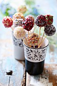 Various colourfully decorated cake pops