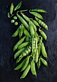 Freshly washed pea pods (seen from above)