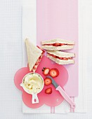 Cream cheese and strawberry sandwiches