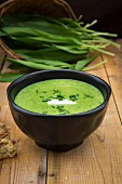 A bowl of wild garlic soup