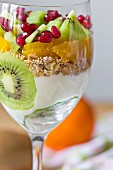 Yogurt with fresh fruit and muesli in a glass