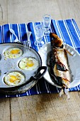Fried eggs and fried trout