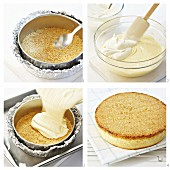 Cheesecake with a crumb base being made