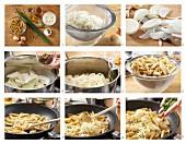 Sauerkraut pasta being made