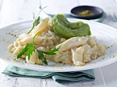 Black salsify risotto with avocado mousse