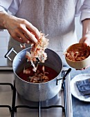 How to prepare nikiri sauce for chirashi sushi: adding bonito flakes