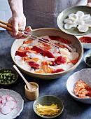 Japanese sashimi with marinated prawns