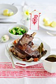 Easter lamb with a side of vegetables