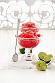Watermelon granita with limes