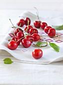 Cherries on a napkin