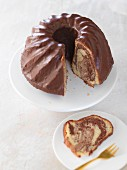 A sliced marble Bundt cake