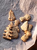 Spekulatius (German Christmas shortcrust biscuits) on baking paper