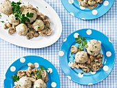 Mini bread dumplings with a mushroom ragout
