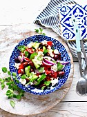 Greek salad with feta and black olives
