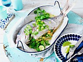 Whole snapper with seafood stuffing