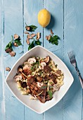 Pasta salad with grilled hare, mushrooms and truffles