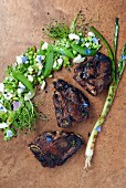 Grilled lamb chops with a pea salad