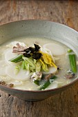 Tteokguk (rice cake soup for New Year, South Korea)