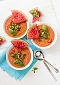 Watermelon and tomato gazpacho with cherry tomatoes, chillis, basil and watermelon slices
