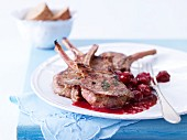 Lamb chops with cherry sauce
