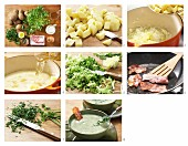 Potato and frisee lettuce soup with crispy bacon being made