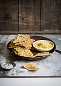 Wholemeal crackers with a dip