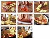 Gebratenes Schweinefilet auf Paprika-Ananas-Gemüse zubereiten