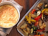 Cheese soufflé with colourful oven-roasted vegetables