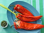 Pointed red peppers filled with rice and pesto