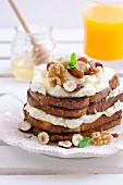 French toast with cream cheese, honey and nuts