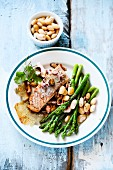 Salmon with green asparagus and beans