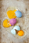 Broken painted eggs