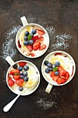 Yoghurt desserts with lemon curd and berries