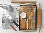 Kitchen utensils for making cakes and a dip
