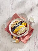 A banana and acai berry smoothie bowl