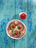 Raspberry and almond smoothie bowl