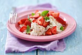 Quark with fresh strawberries, basil and cinnamon