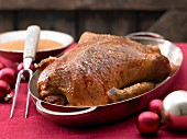 Roast duck for Christmas dinner