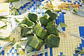Ho mok parcels (steamed fish mousse in banana leaves, Thailand)