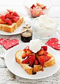 Brioche toast with strawberries covered in balsamic vinegar and mascarpone